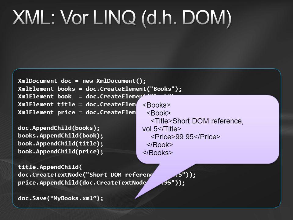 XML: Vor LINQ (d.h. DOM) <Books> <Book>