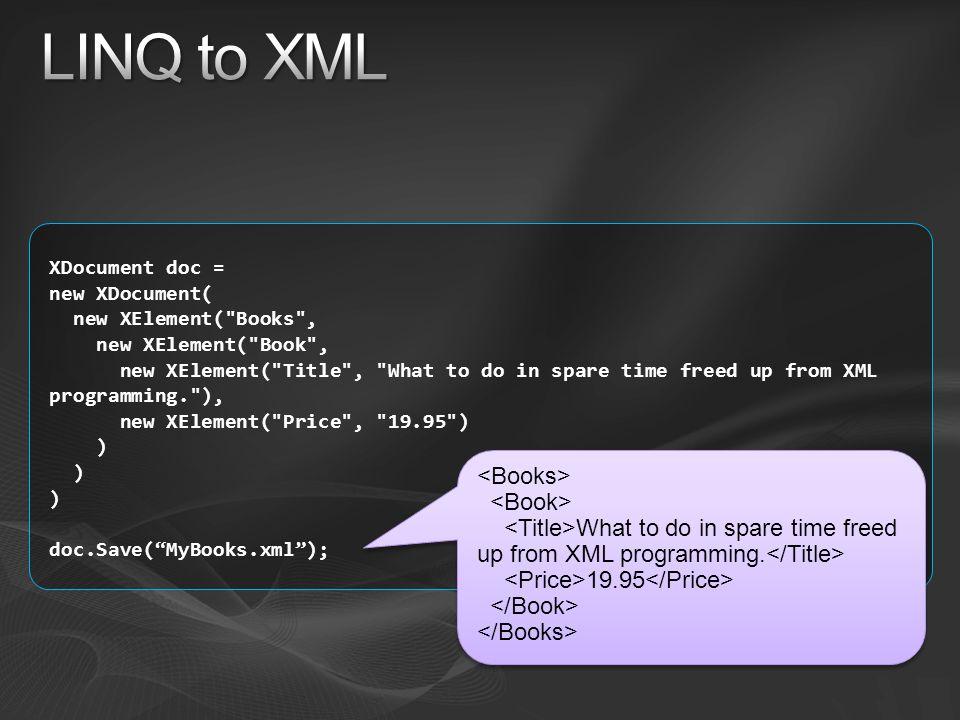 LINQ to XML <Books> <Book>