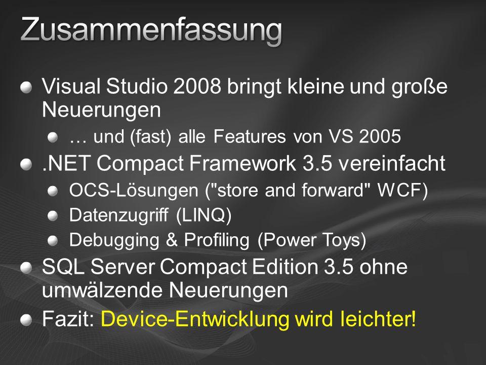 Zusammenfassung Visual Studio 2008 bringt kleine und große Neuerungen