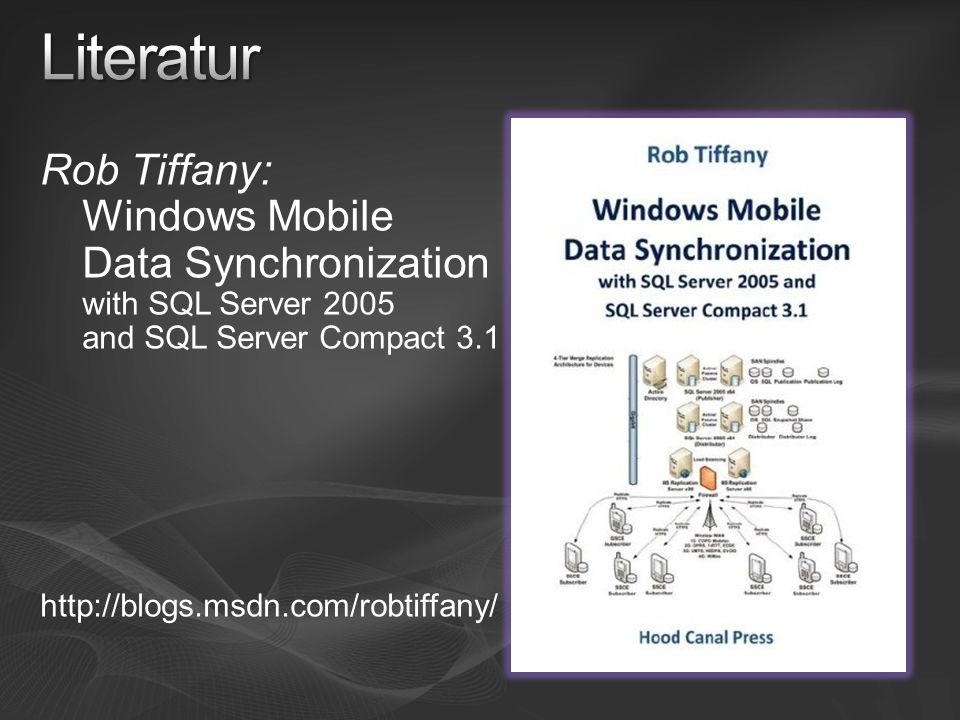Literatur Rob Tiffany: Windows Mobile Data Synchronization with SQL Server 2005 and SQL Server Compact 3.1.
