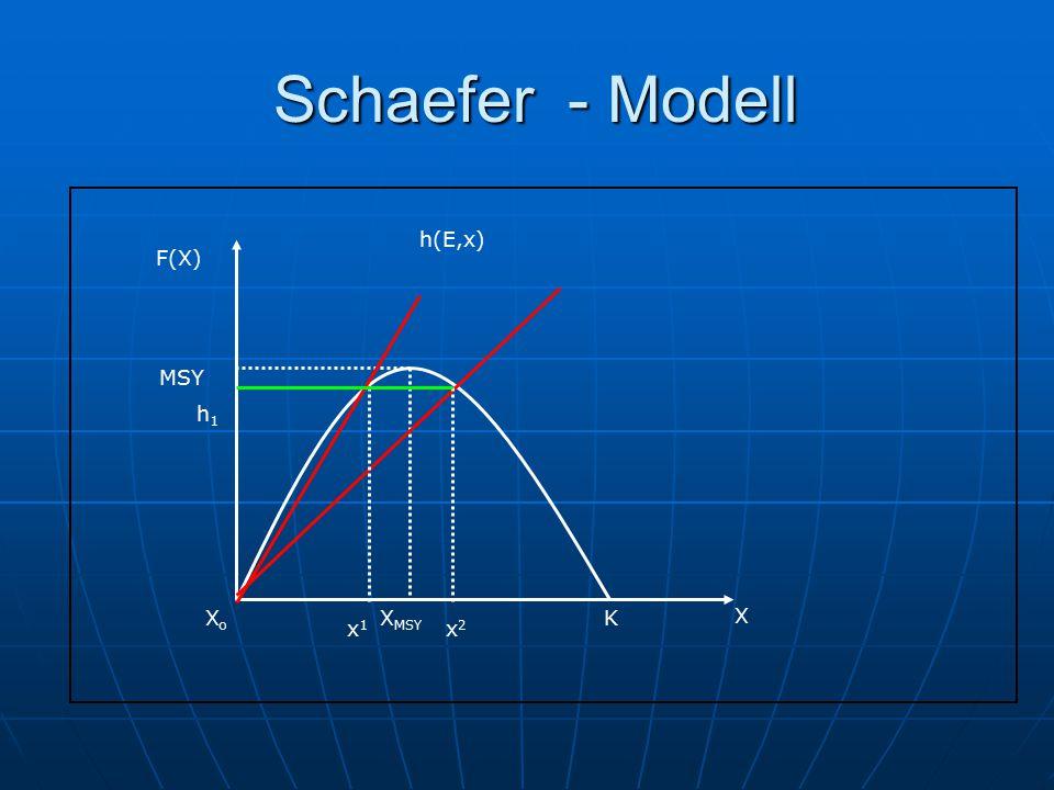 Schaefer - Modell F(X) X XMSY K MSY Xo h(E,x) h1 x1 x2