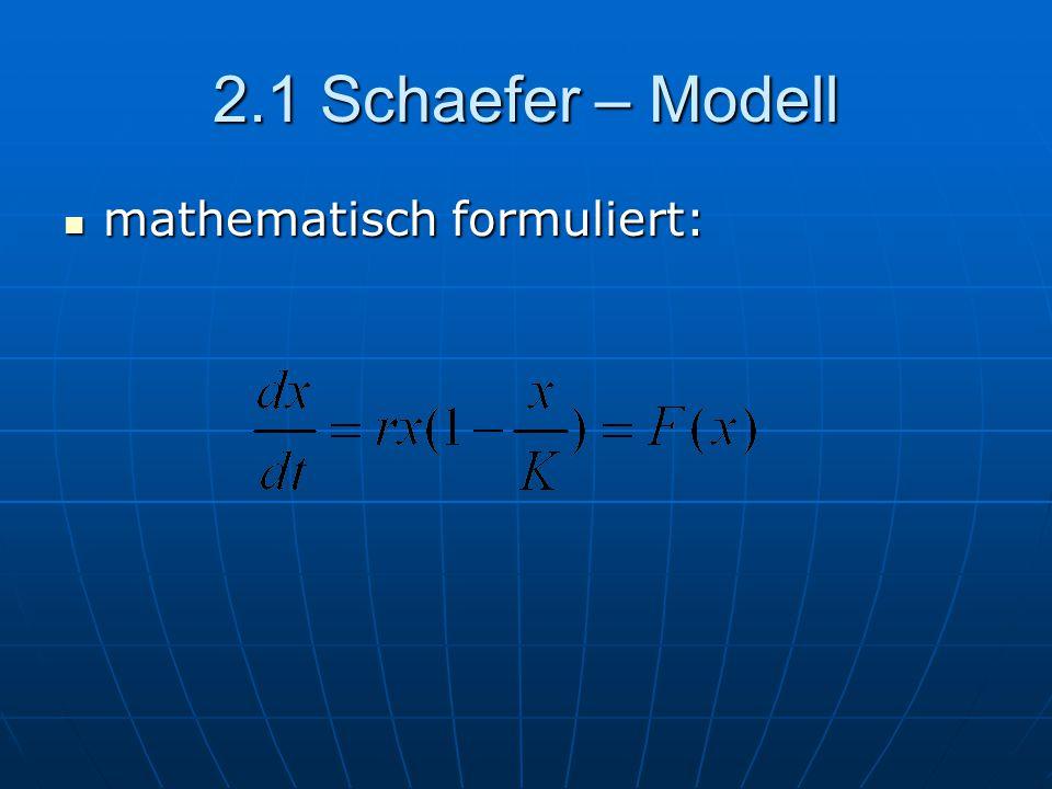 2.1 Schaefer – Modell mathematisch formuliert: