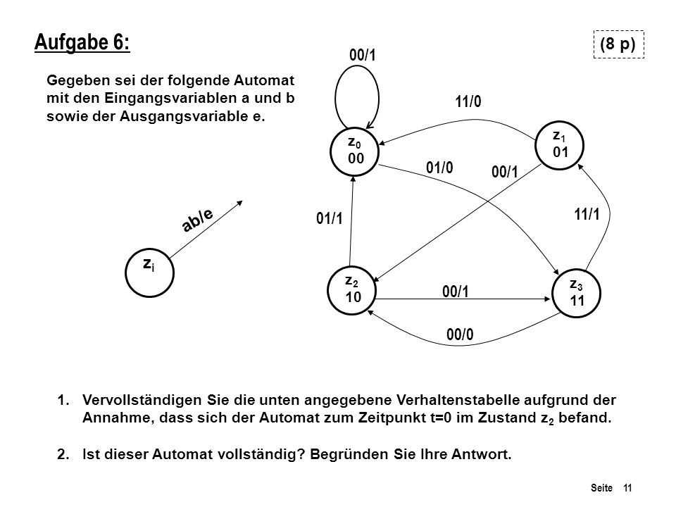 Aufgabe 6: (8 p) 00/1 11/0 01/0 00/1 ab/e 11/1 01/1 zi 00/1 00/0