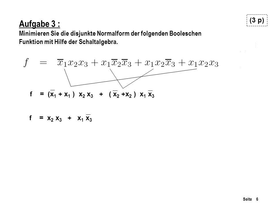 (3 p) Aufgabe 3 : Minimieren Sie die disjunkte Normalform der folgenden Booleschen. Funktion mit Hilfe der Schaltalgebra.