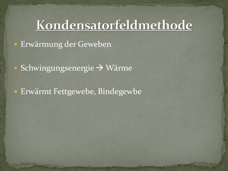 Kondensatorfeldmethode