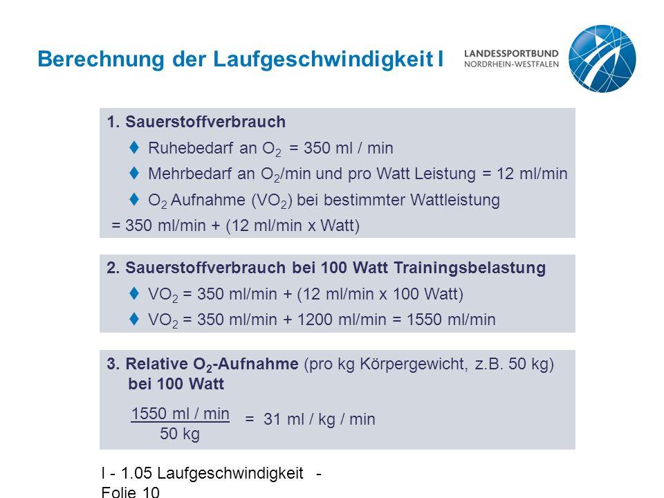 Berechnung der Laufgeschwindigkeit I