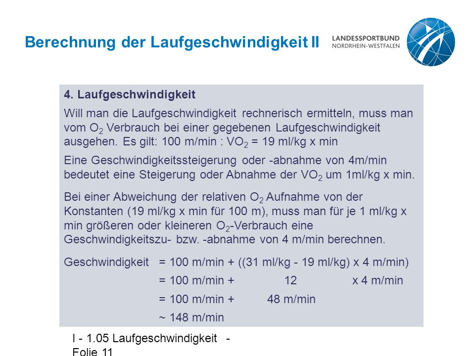 Berechnung der Laufgeschwindigkeit II
