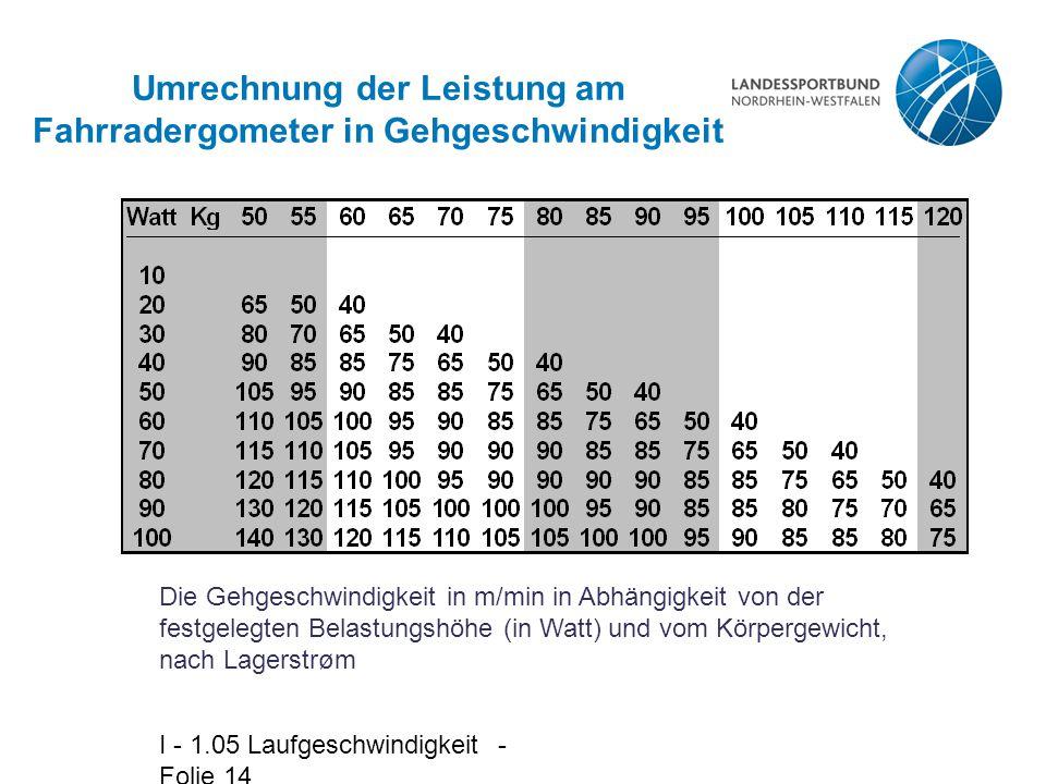 Umrechnung der Leistung am Fahrradergometer in Gehgeschwindigkeit