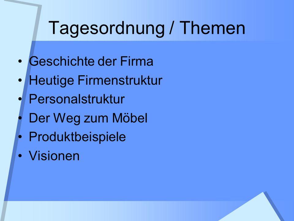 Tagesordnung / Themen Geschichte der Firma Heutige Firmenstruktur