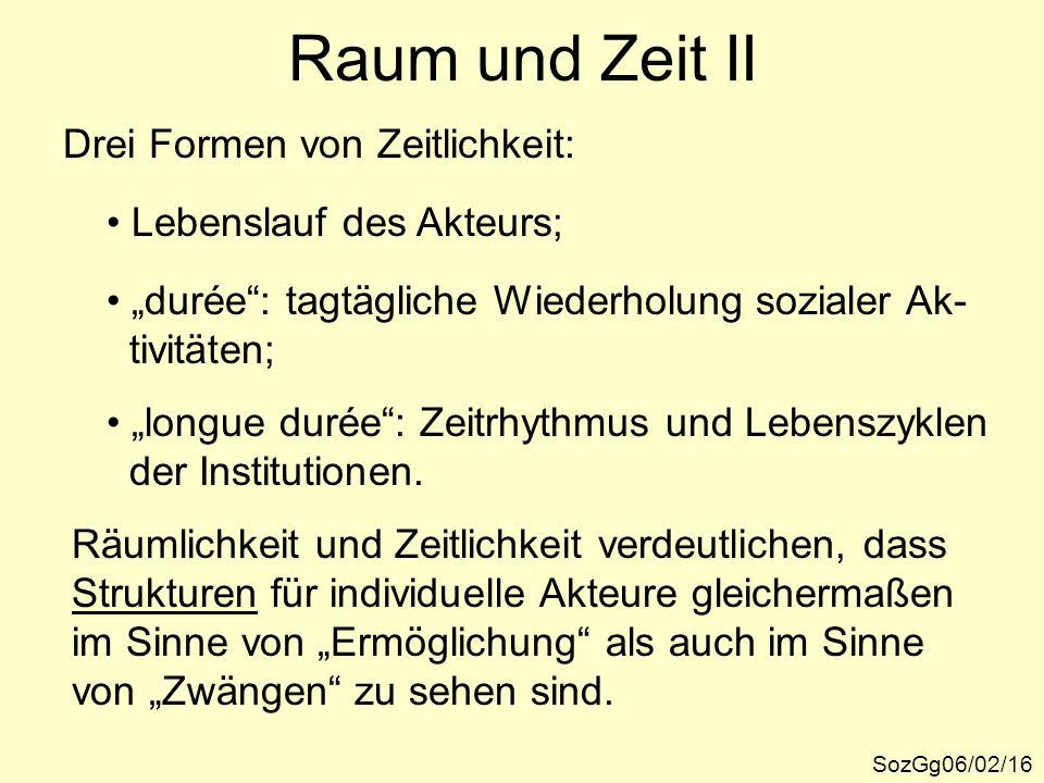 Raum und Zeit II Drei Formen von Zeitlichkeit: Lebenslauf des Akteurs;