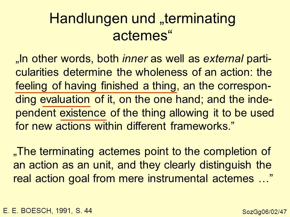 """Handlungen und """"terminating actemes"""