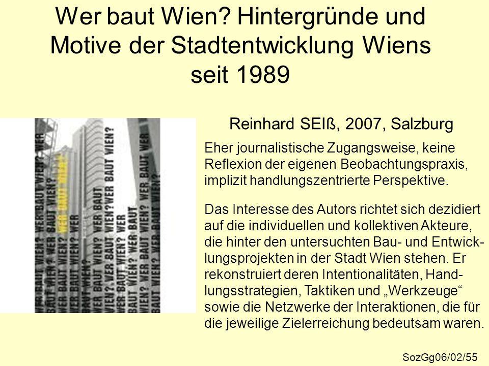 Wer baut Wien Hintergründe und Motive der Stadtentwicklung Wiens seit 1989