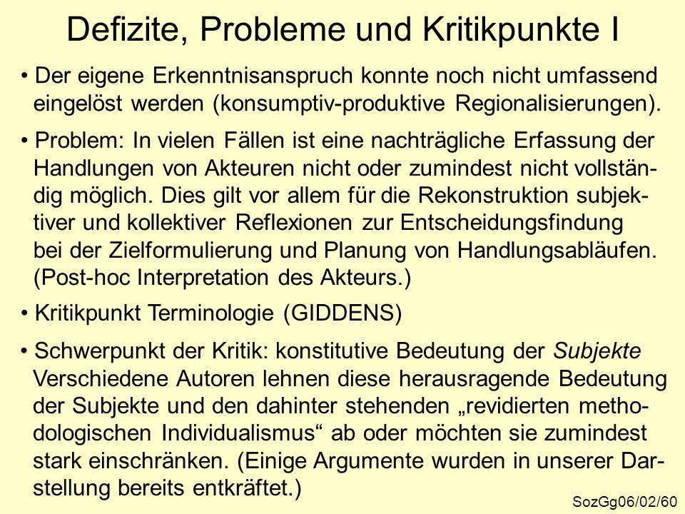 Defizite, Probleme und Kritikpunkte I