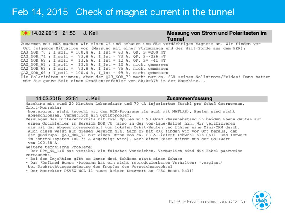 Feb 14, 2015 Check of magnet current in the tunnel