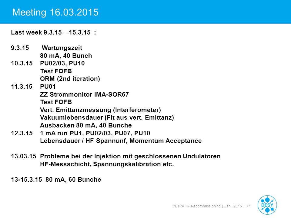 Meeting 16.03.2015 Last week 9.3.15 – 15.3.15 : 9.3.15 Wartungszeit