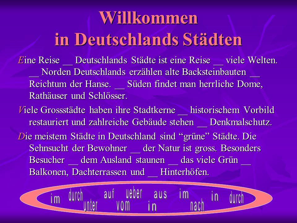 Willkommen in Deutschlands Städten