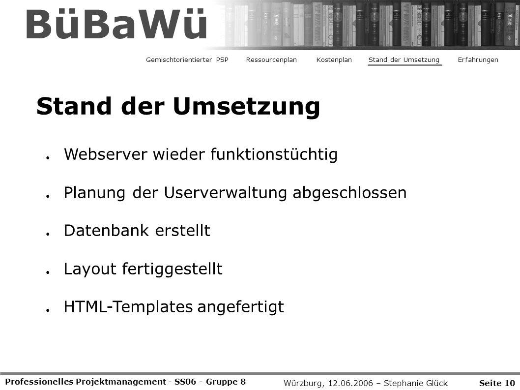 BüBaWü Stand der Umsetzung Webserver wieder funktionstüchtig