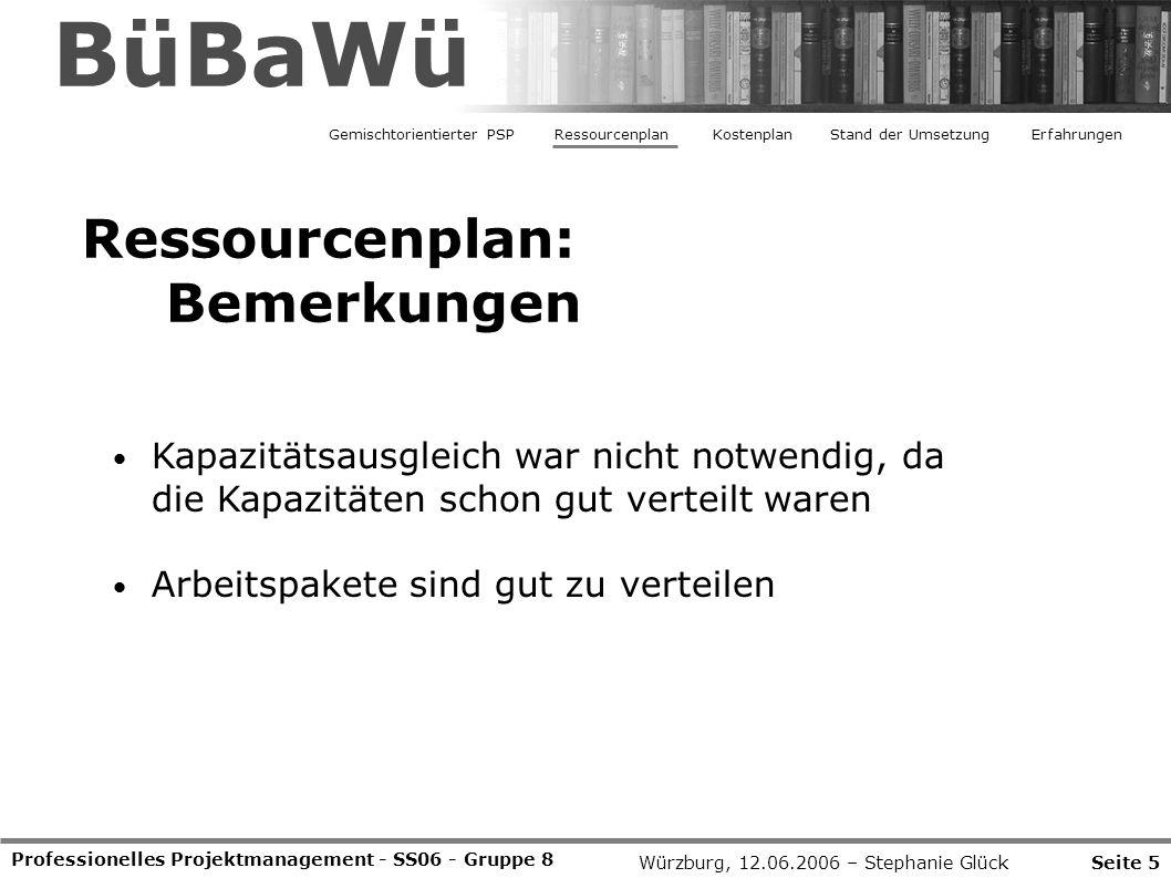 BüBaWü Ressourcenplan: Bemerkungen