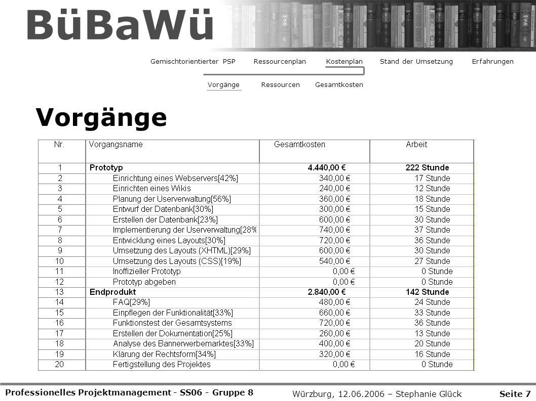 BüBaWü Vorgänge Professionelles Projektmanagement - SS06 - Gruppe 8