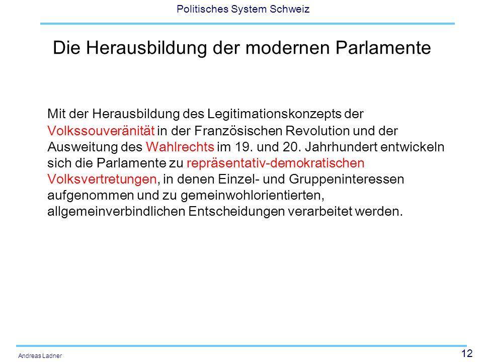 Die Herausbildung der modernen Parlamente