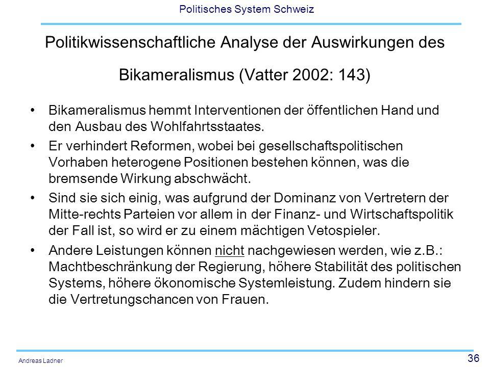 Politikwissenschaftliche Analyse der Auswirkungen des Bikameralismus (Vatter 2002: 143)