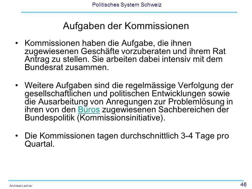 Aufgaben der Kommissionen