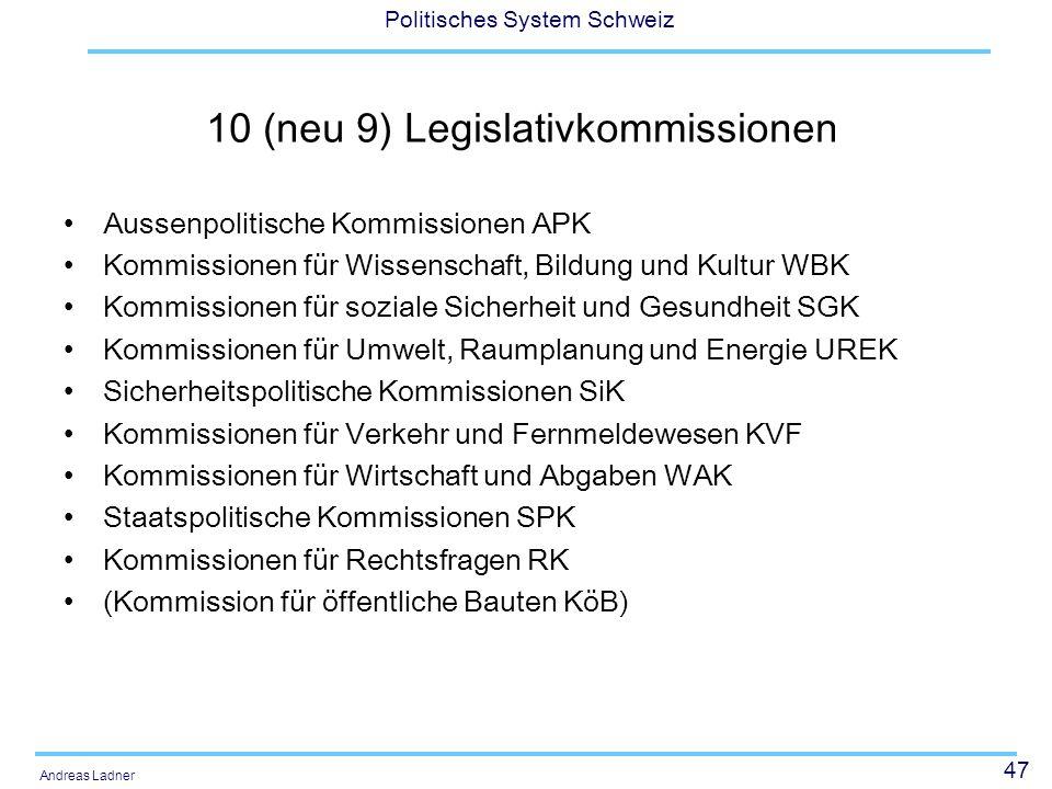 10 (neu 9) Legislativkommissionen