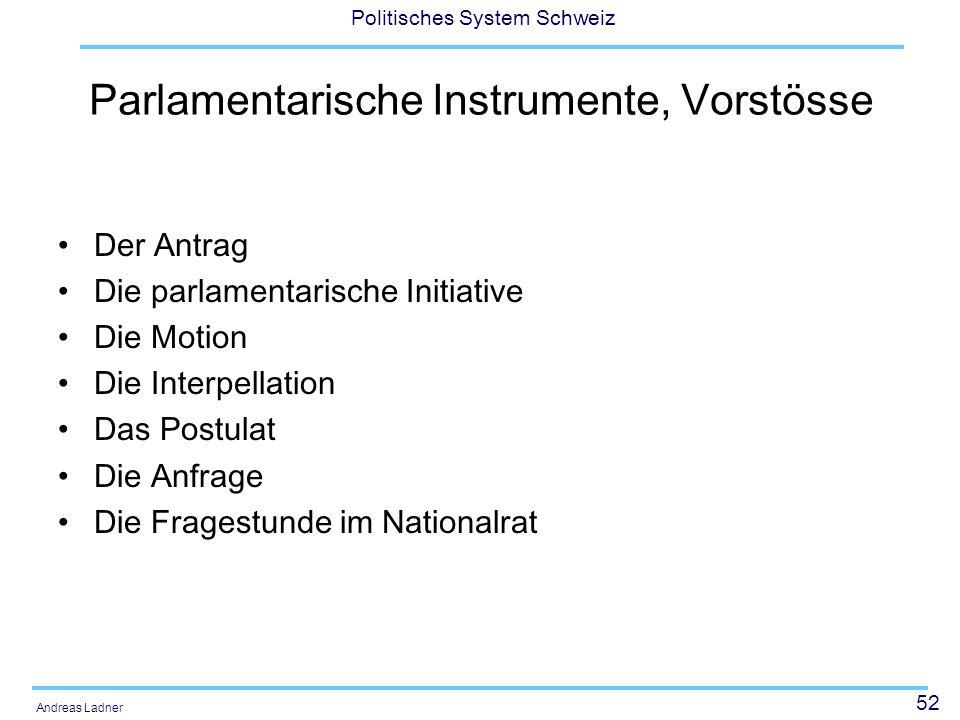 Parlamentarische Instrumente, Vorstösse