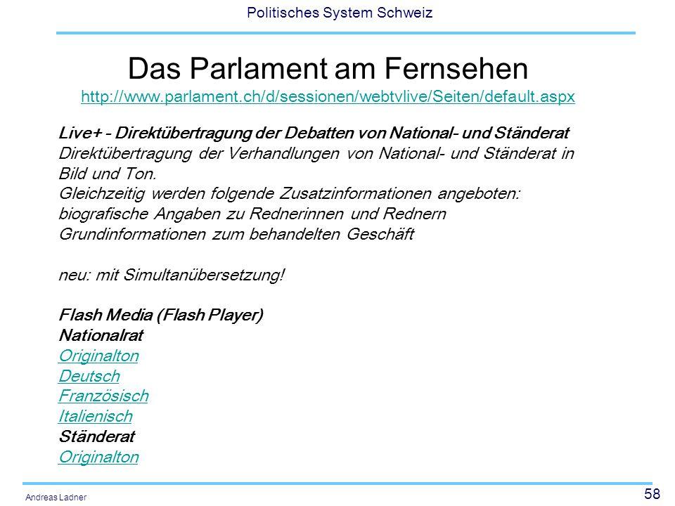 Das Parlament am Fernsehen http://www. parlament