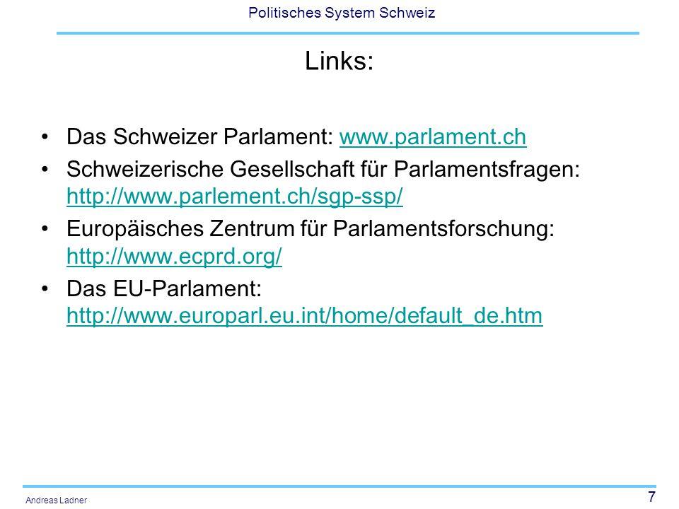 Links: Das Schweizer Parlament: www.parlament.ch