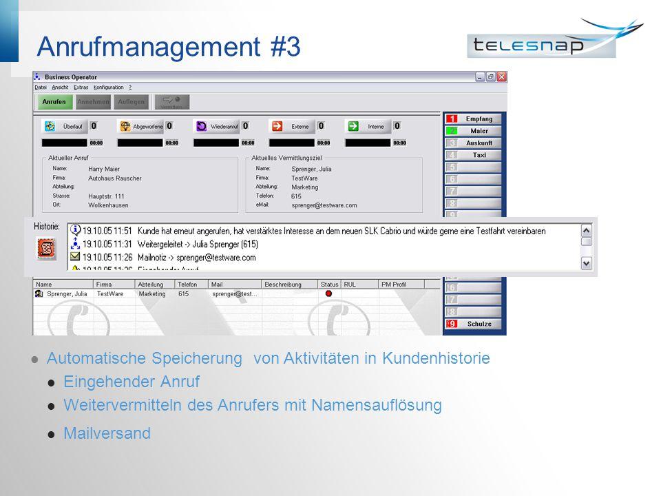 Anrufmanagement #3 Automatische Speicherung von Aktivitäten in Kundenhistorie. Eingehender Anruf.