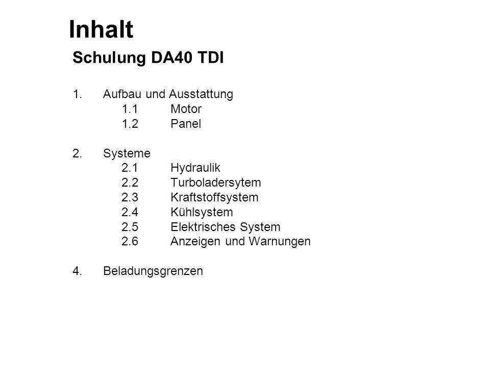 Inhalt Schulung DA40 TDI 1. Aufbau und Ausstattung 1.1 Motor 1.2 Panel