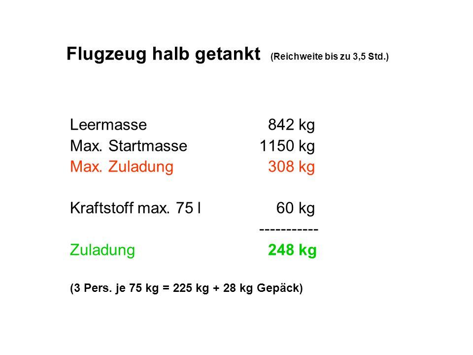 Flugzeug halb getankt (Reichweite bis zu 3,5 Std.)