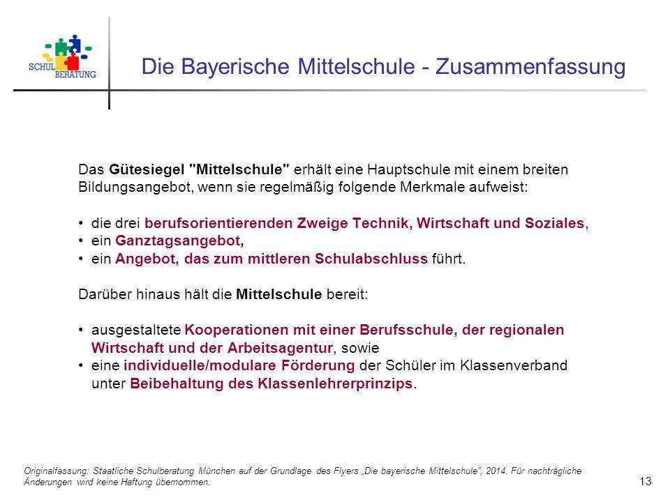 Die Bayerische Mittelschule - Zusammenfassung