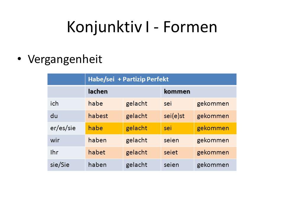 Konjunktiv I - Formen Vergangenheit Habe/sei + Partizip Perfekt lachen