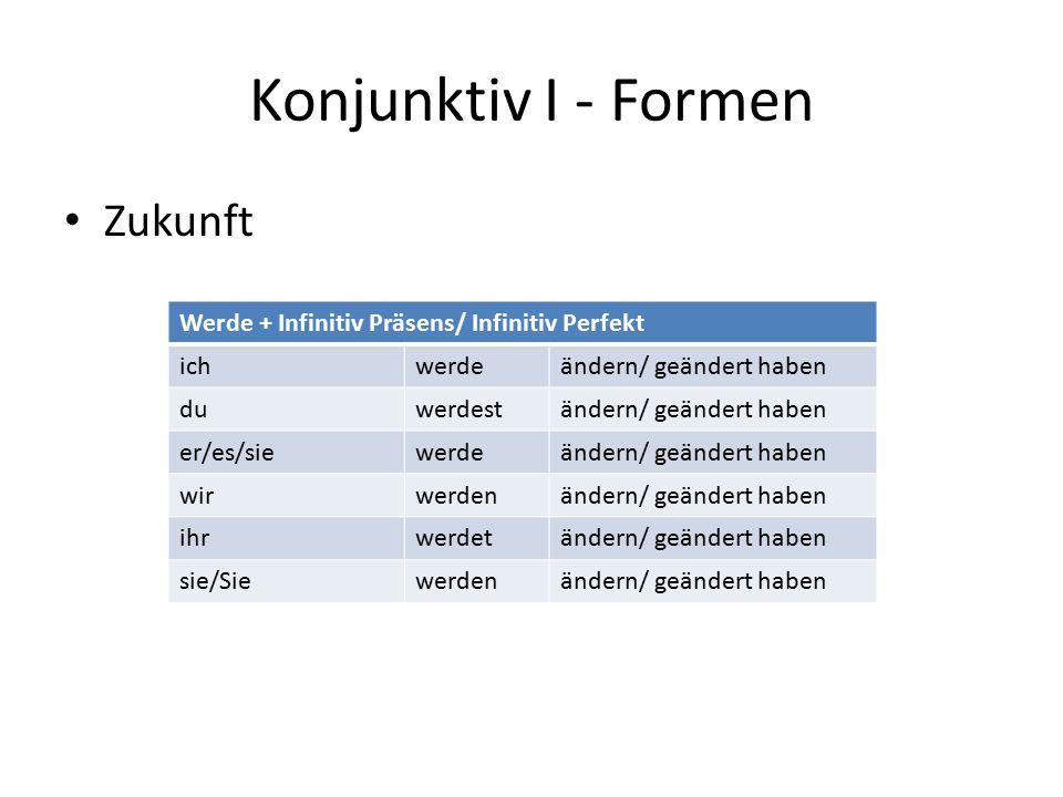 Konjunktiv I - Formen Zukunft