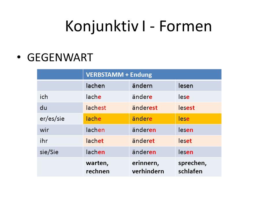 Konjunktiv I - Formen GEGENWART VERBSTAMM + Endung lachen ändern lesen