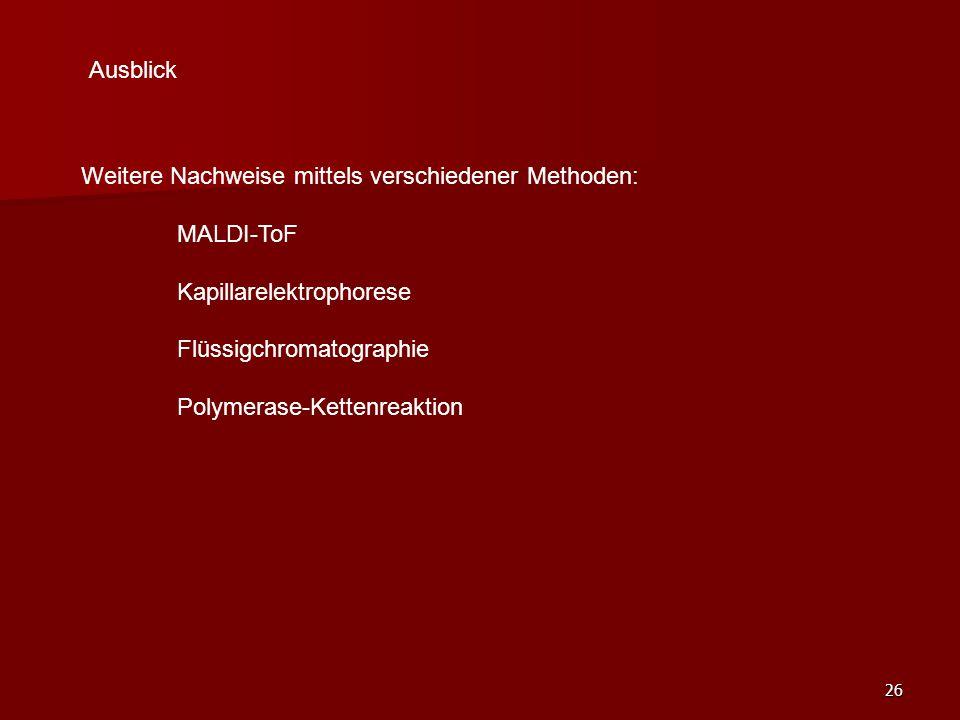 Ausblick Weitere Nachweise mittels verschiedener Methoden: MALDI-ToF. Kapillarelektrophorese. Flüssigchromatographie.