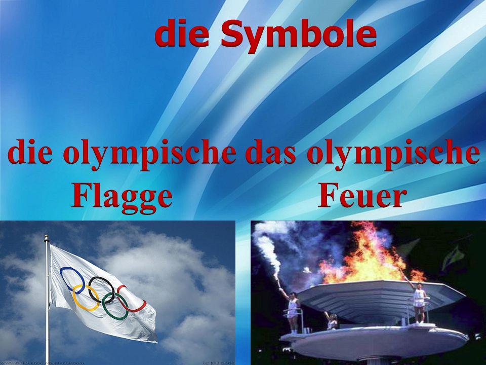die Symbole die olympische Flagge das olympische Feuer