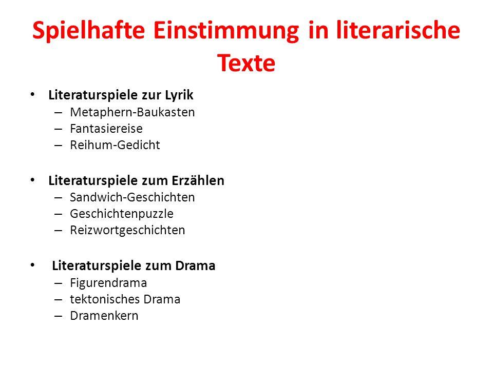 Spielhafte Einstimmung in literarische Texte