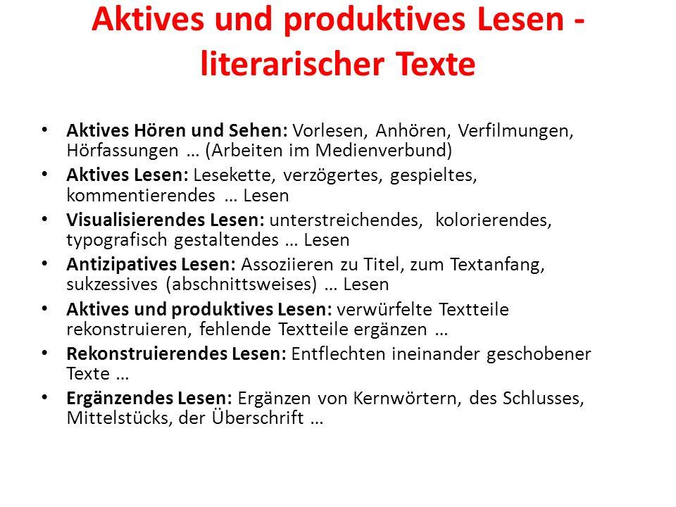 Aktives und produktives Lesen - literarischer Texte
