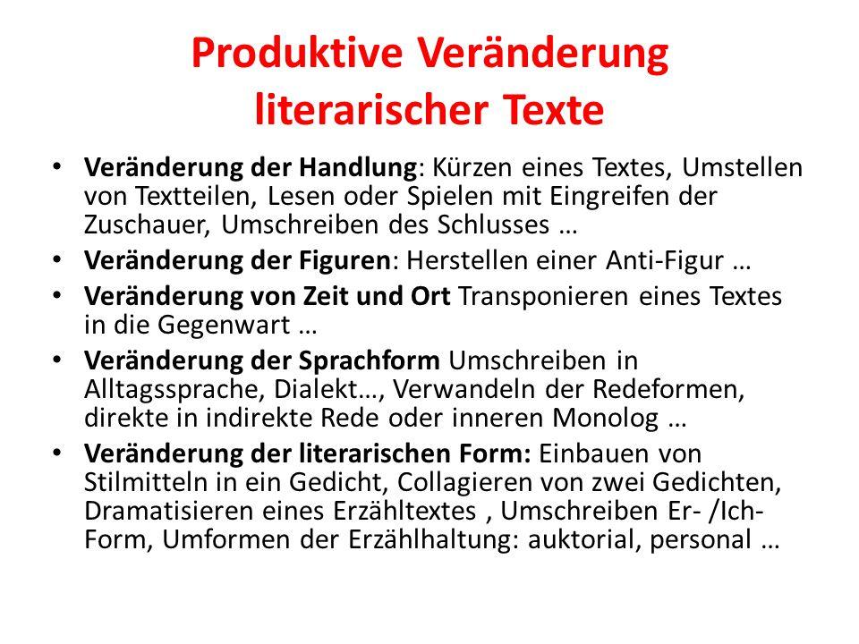 Produktive Veränderung literarischer Texte