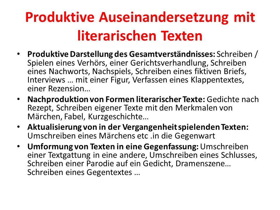 Produktive Auseinandersetzung mit literarischen Texten