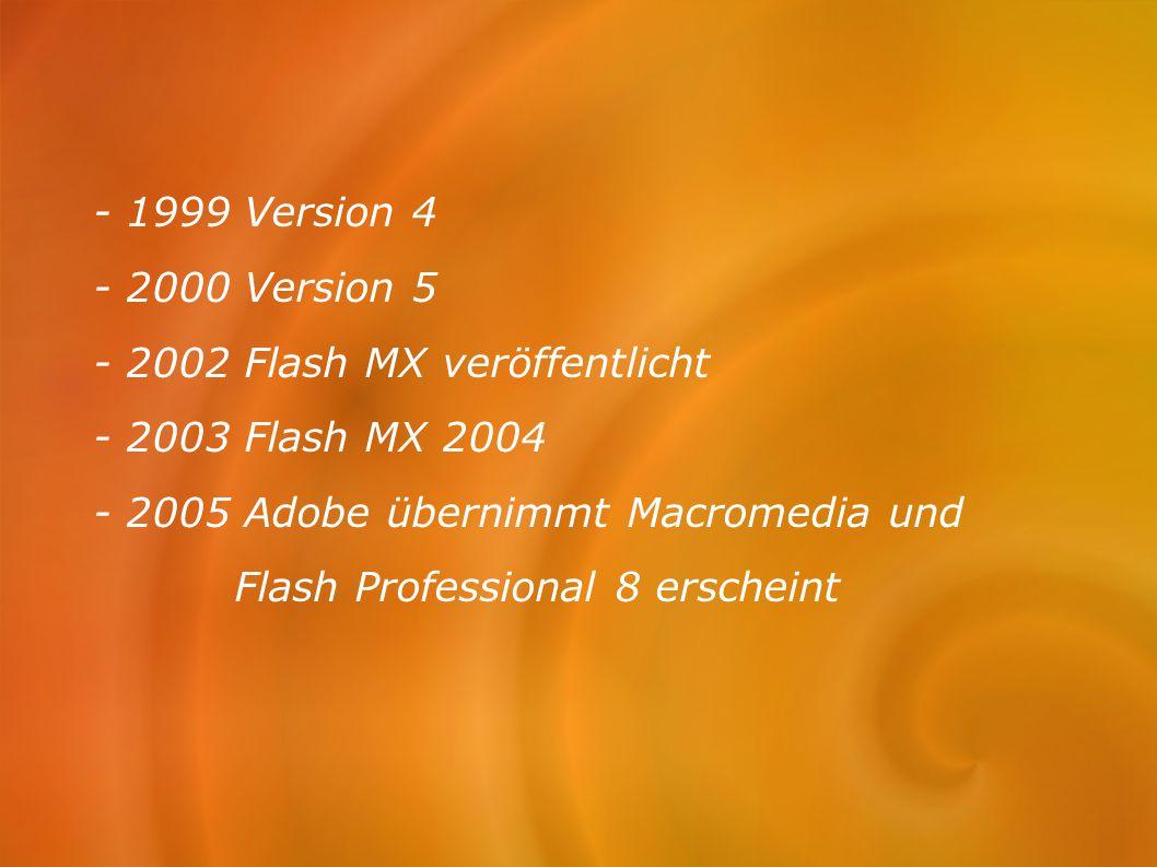 - 1999 Version 4 - 2000 Version 5. - 2002 Flash MX veröffentlicht. - 2003 Flash MX 2004. - 2005 Adobe übernimmt Macromedia und.