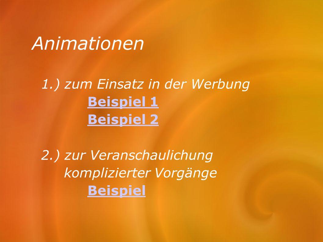 Animationen 1.) zum Einsatz in der Werbung Beispiel 1 Beispiel 2