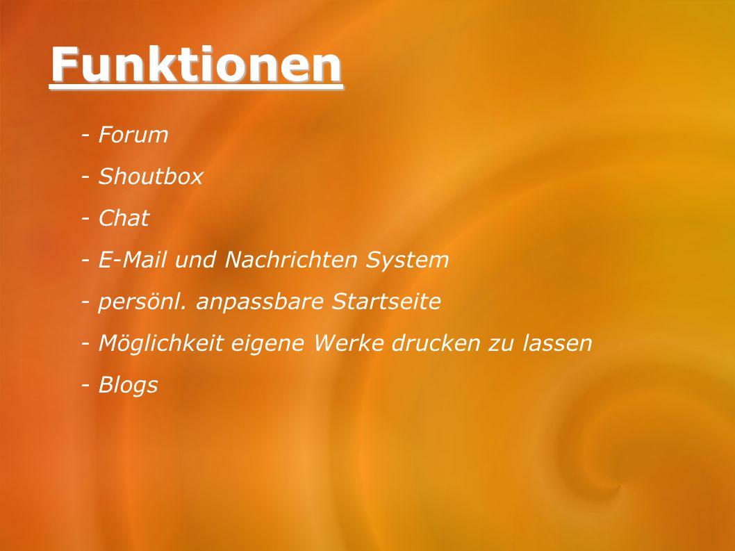 Funktionen - Forum - Shoutbox - Chat - E-Mail und Nachrichten System
