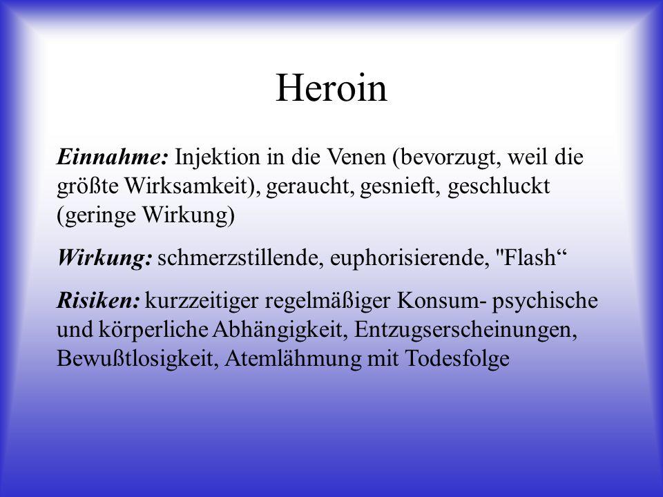 Heroin Einnahme: Injektion in die Venen (bevorzugt, weil die größte Wirksamkeit), geraucht, gesnieft, geschluckt (geringe Wirkung)