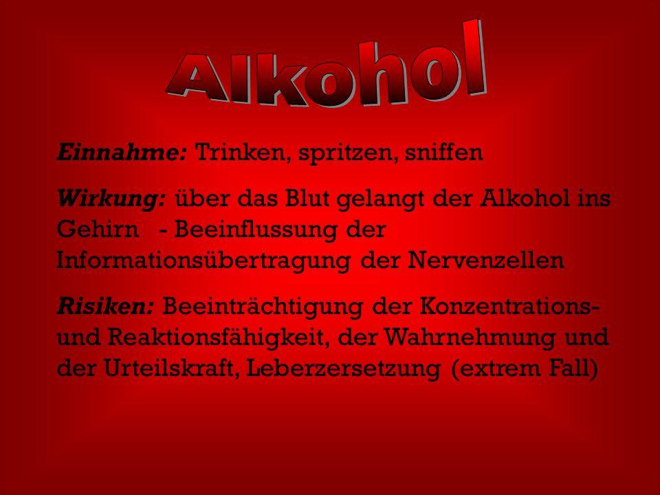 Alkohol Einnahme: Trinken, spritzen, sniffen