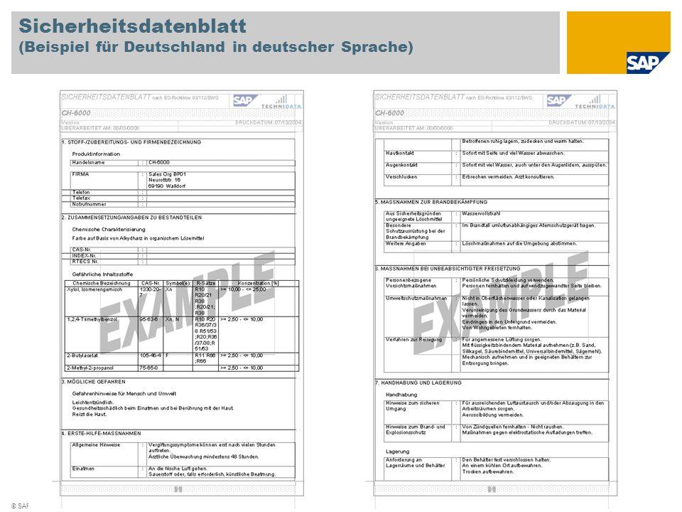 Sicherheitsdatenblatt (Beispiel für Deutschland in deutscher Sprache)
