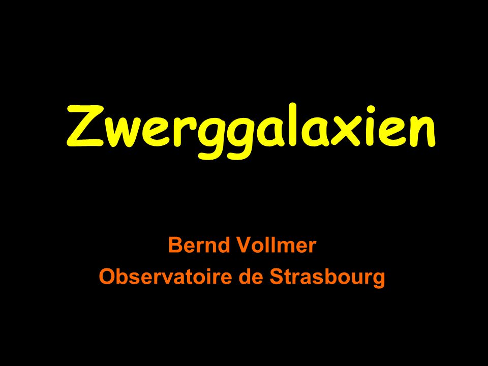 Bernd Vollmer Observatoire de Strasbourg